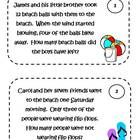 Math Problem Solving Task Cards - summer theme