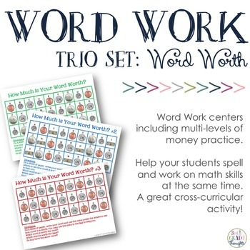 Math + Spelling= How Much is Your Word Worth? {Trio Set}