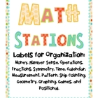 Math Stations Labels for Organization