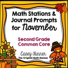 Math Stations and Journal Prompts for November: Second Gra