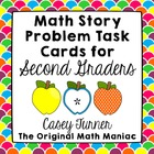 Math Story Problem Task Cards for Second Graders