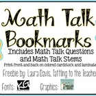 Math Talk Bookmarks {freebie}