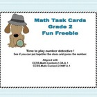 Math Task Cards- Number Detective Grade 2 Freebie