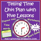 Math Telling Time Unit with Five Lessons pdf Format