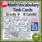 Math Vocabulary - 8 Task Cards - GRADE 4 - Smart Device QR