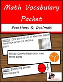 Math Vocabulary Packet - Fractions