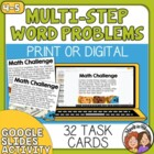 Math Word Problem Task Cards: 32 Multi-Step Story Problem Cards