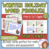 Math Word Problem Task Cards for Christmas, Hanukkah, and