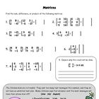 Matrices Activity:  Finding the sum, difference, and product