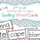 McGraw Hill Wonders Spelling Word Cards - 2nd Grade Units 1-4