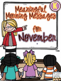 Meaningful Morning Messages for November (Kindergarten)