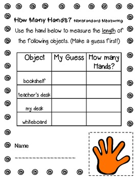 MEASURING WITH HANDS! NONSTANDARD UNITS {FREEBIE ...