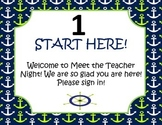Meet the Teacher Night Lime and Navy Nautical Packet