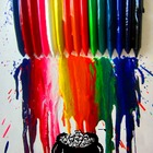 Melted crayon rainbow journal