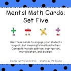 Mental Math Cards - Set Five