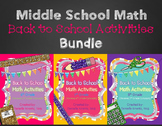 Middle School Math Back to School Activities BUNDLE
