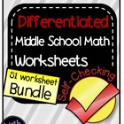 Middle School Math Bundle of Self-Checking Worksheets - Di