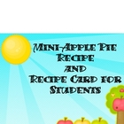 Mini-Apple Pie Recipe and Recipe Card for Students