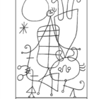 Miro. People and Dog in the Sun.  Coloring page and lesson
