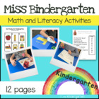 Miss Bindergarten First Week of Kindergarten Unit