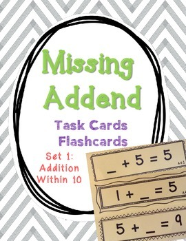 Set 1 - Missing Addend Task Cards or Flashcards (Addition