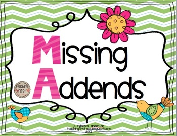 Missing Addends Printables- Common Core Aligned