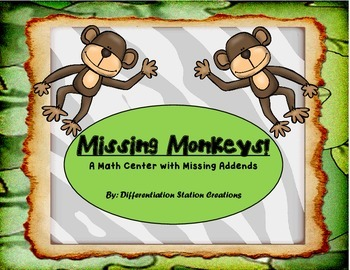 Missing Monkeys: 3 Differentiated Math Centers with Missin