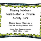 Missing Numbers Multiplication and Division Activities