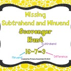 Missing Subtrahend and Minuend Scavenger Hunt (missing num