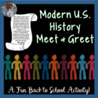 Modern U.S. History Find Someone Who First Day of School o