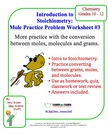 Mole Practice Worksheet #3 Moles, Molecules and Mass Conversions
