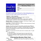 Monetary Policy Worksheet
