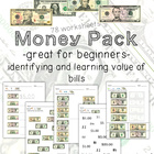 Money (Dollar Bills) Identification and Value Worksheets