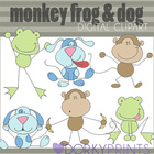 Monkey Frog and Dog Digital Clip Art