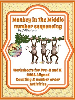 Monkey in the Middle Number Sequencing Activity / Printable Pre-K - 1st