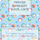 Monster Homework Punch Cards