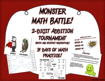 Monster Math Battle! - 2 digit addition with and without r