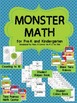 Monster Math - Math Unit/Centers for PreK and Kindergarten