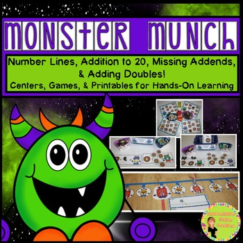 """Monster Munch!"" Addition to 20, Number Lines, Missing Add"
