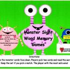 Monster Sight Word Memory Games-Kindergarten and First Grade