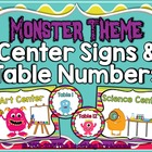 Monster Theme Center Signs & Table Numbers ~ Full & Mini Sizes