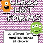 Monster Themed Class Lists for 25 Students