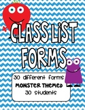 Monster Themed Class Lists for 30 Students