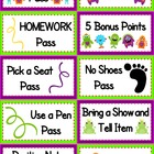 Monster Themed Positive Behavior Coupons - FREE