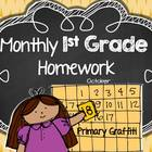 Monthly 1st Grade Homework Calendar {October}