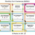 Monthly Fix-It Sentences Bundle (13 Packs in All!)