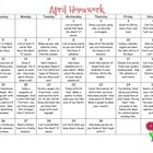 Monthly Homework Calendar - April