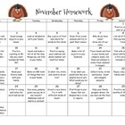 Monthly Homework Calendar - November