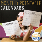 Monthly Printable Black and White Calendar Pack