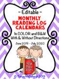 Monthly Reading Logs ~Editable!~ June 2014 to June 2015/ M